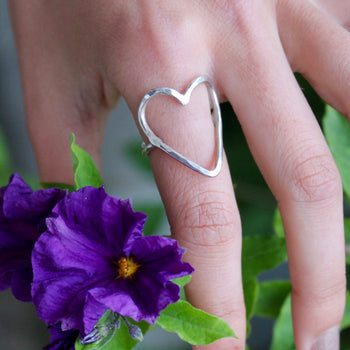 Silver Open Heart Ring