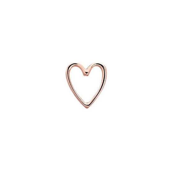 One (1) Rose Gold Open Heart Stud