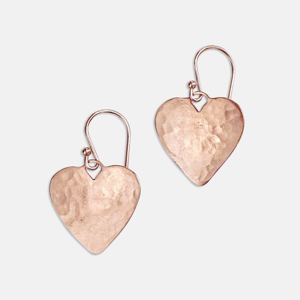 Rose Gold Charming Heart Earrings