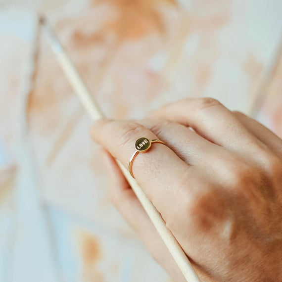 Gold Love Dot ring