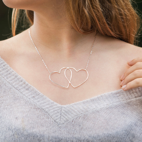 Double Love sterling silver heart necklace jewelry