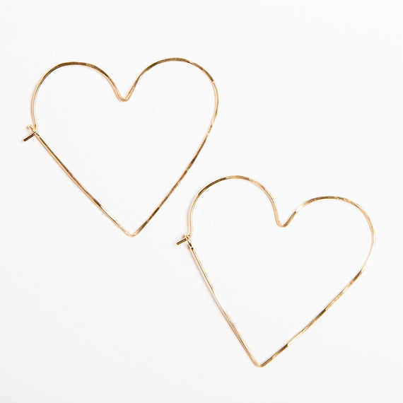 handmade gold heart hoops