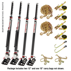 "Full Set of Vehicle Stabilization Struts 1-12"" and 1-15"" Stroke Hydraulic Struts and 2 Telescoping Struts with Accessories"