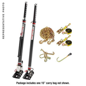 "Half Set of Vehicle Stabilization Struts (1 15"" stroke hydraulic lifting strut and 1 telescoping strut) with Accessories"