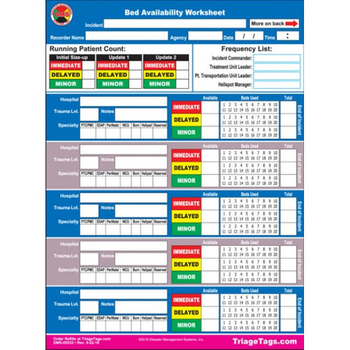 EMT3® Bed Availability Worksheet - Refill Pack