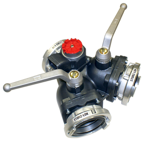 "2-way ball valve Superflow 4"" Storz lock inlet x (2) 4"" Storz lock outlets w/ 250-S RV"