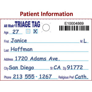 All Risk® Triage Tags w/ Patient Wristband