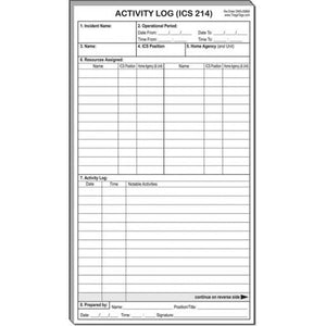 ICS 214 Activity Log Refill Pack of 10 Pads