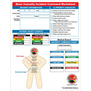 Mass Casualty Incident Command Worksheet Pad