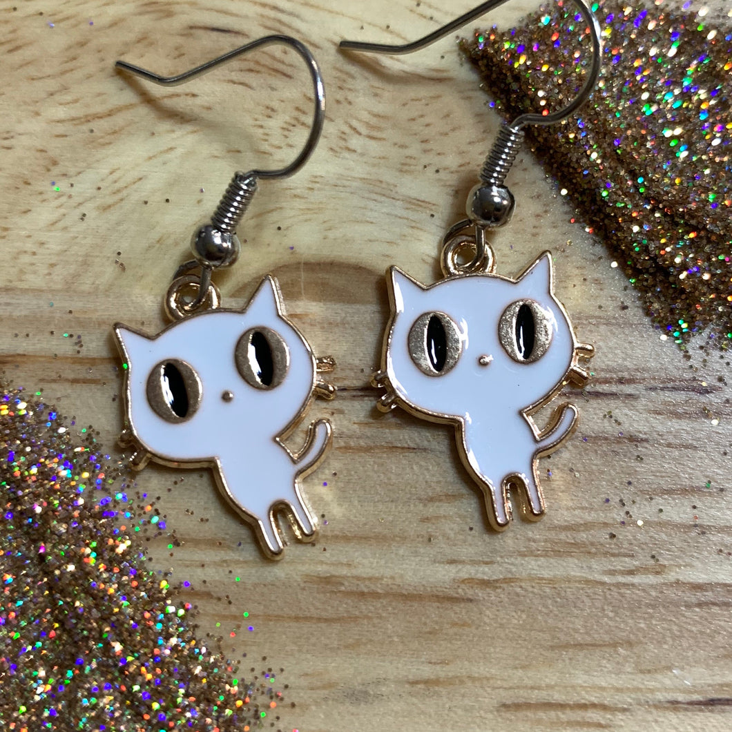 Gold and White Cat *Dangle Earrings*