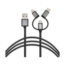 3SIXT 3-in-1 Braided Charge & Sync Cable (Lightning/Micro USB/USB-C)
