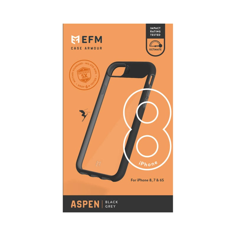 EFM Aspen D3O Case Armour Crystal / Black Grey For iPhone 6/6s/7/8/SE