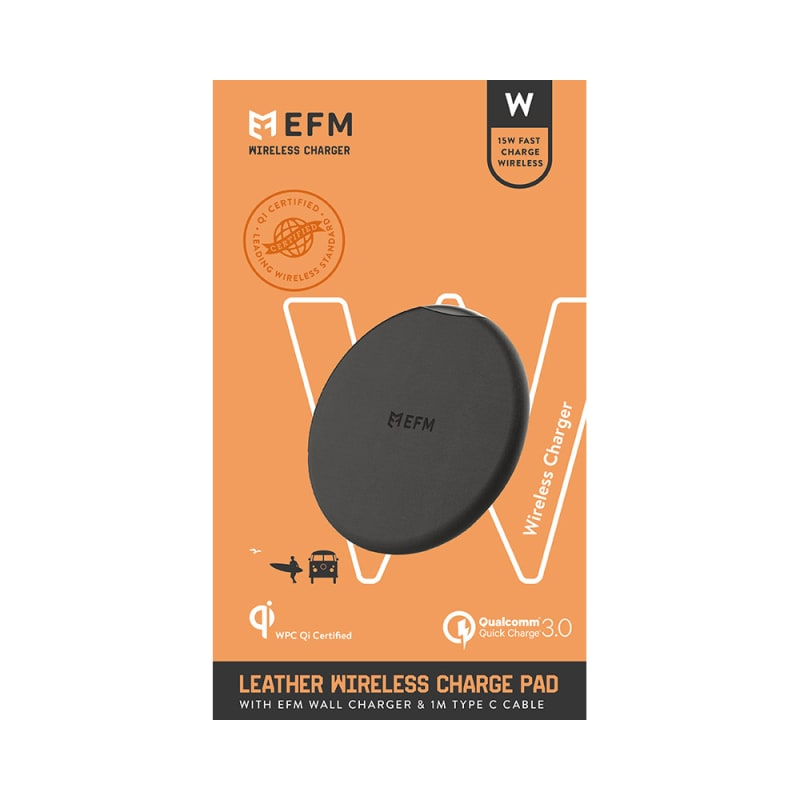 EFM Leather Wireless Charge Pad 15W Qi WPC Certified with USB Wall Adapter