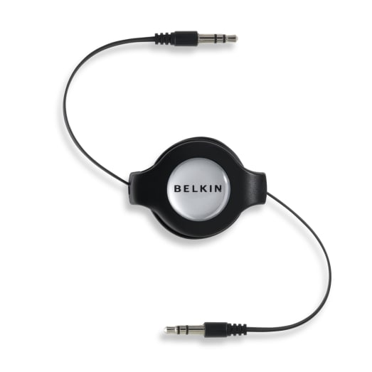 Belkin Retractable Car Stereo Cable 3.5mm Male to 3.5mm Male - Black