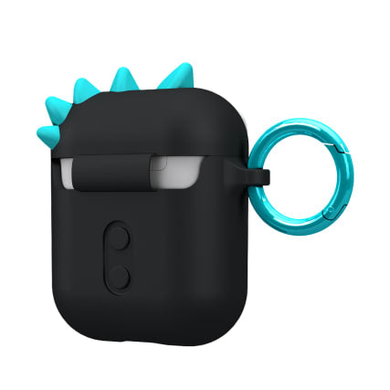 Case-Mate CreaturePod Case for Air Pods with Neck Strap - Spike Harmless Case (Black)