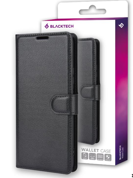 BLACKTECH Black Wallet Case for Samsung A21S 4G