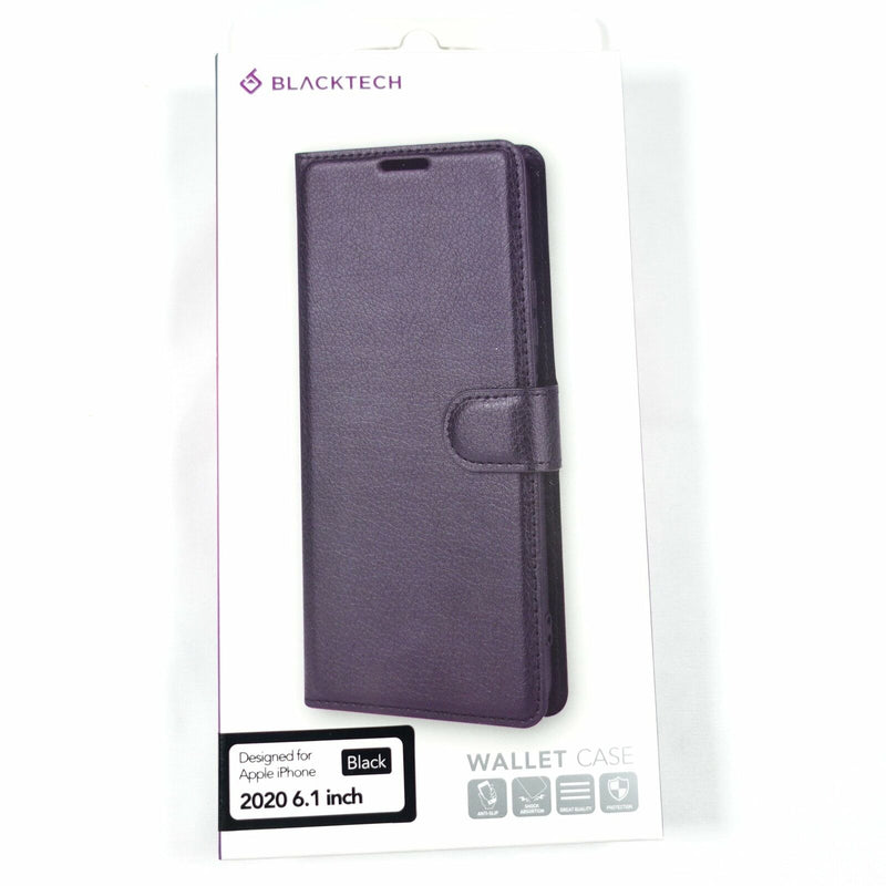 BLACKTECH Black Wallet Case for iPhone 12/12 Pro