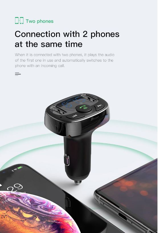 Baseus Car Bluetooth MP3 FM Transmitter Charger-Black