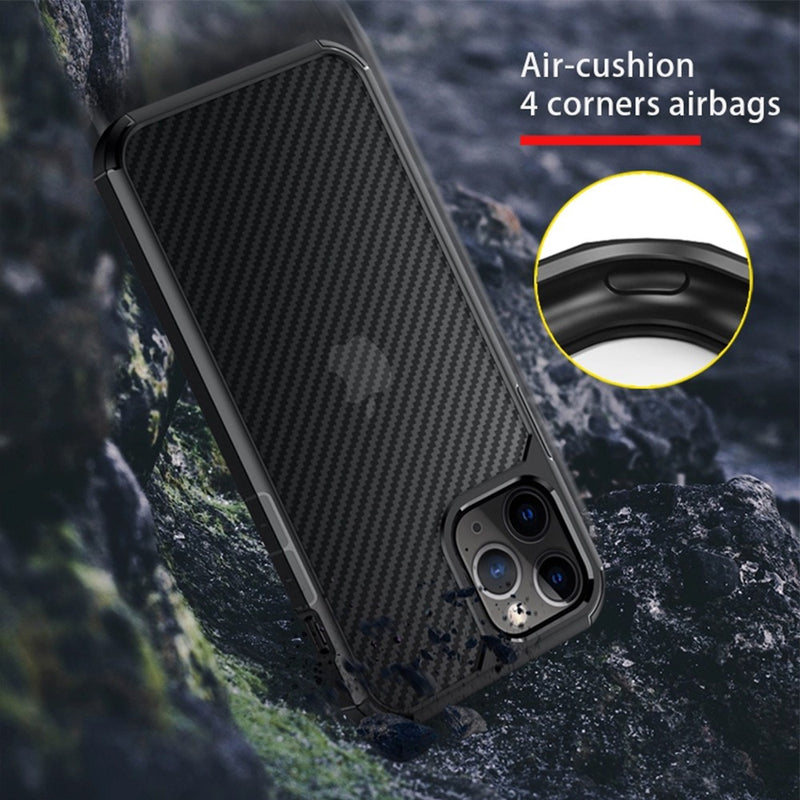 Carbon Fiber Hard Shield Case Cover for iPhone 12/12 Pro