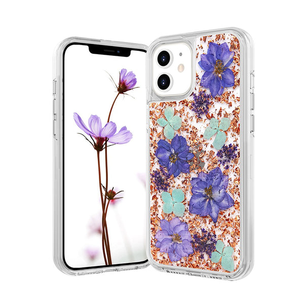 Dried Flower Bling Gold Foil Clear Case Cover for iPhone 12/12 Pro