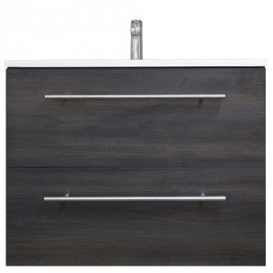 Raymor Brighton 750mm Wall Hung Vanity 2 Drawers Black Walnut