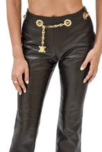 Load image into Gallery viewer, Celine Chain Belt Leather Trouser