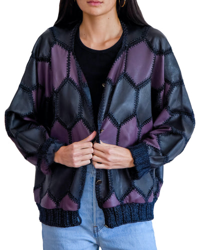 Leather Patchwork Bomber