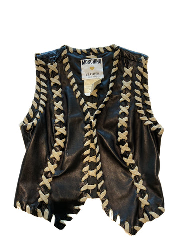 Moschino Leather Stitched Vest