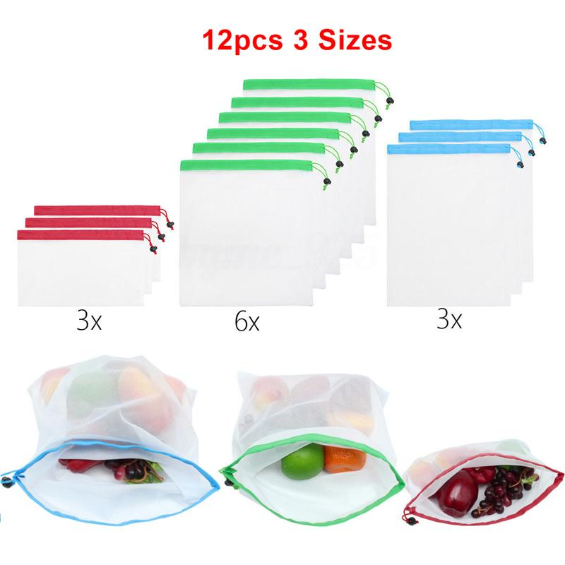 12pcs Reusable Mesh Produce Bags