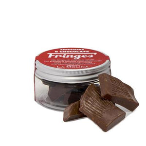 """FRINGES"" CHOCOLATES WITH CRUNCHY SALT AND SPICES JAR"
