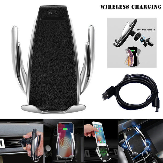 Automatic Clamping Wireless Car Charger Type C 10W Fast Charging Mount Holder Stand Clamp Smart Phone Charger Auto-sensing New