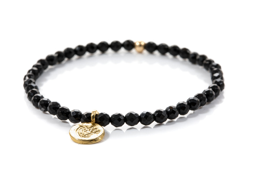 Black Spinel Lotus Bracelet