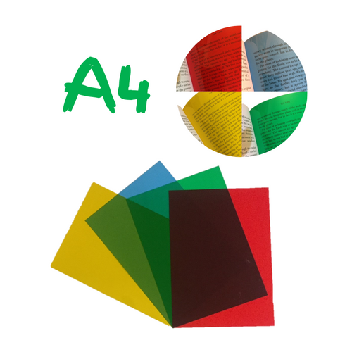 Dyslexia Overlays - A4 Assorted Pack - Blue, Yellow, Green & Red Sheet