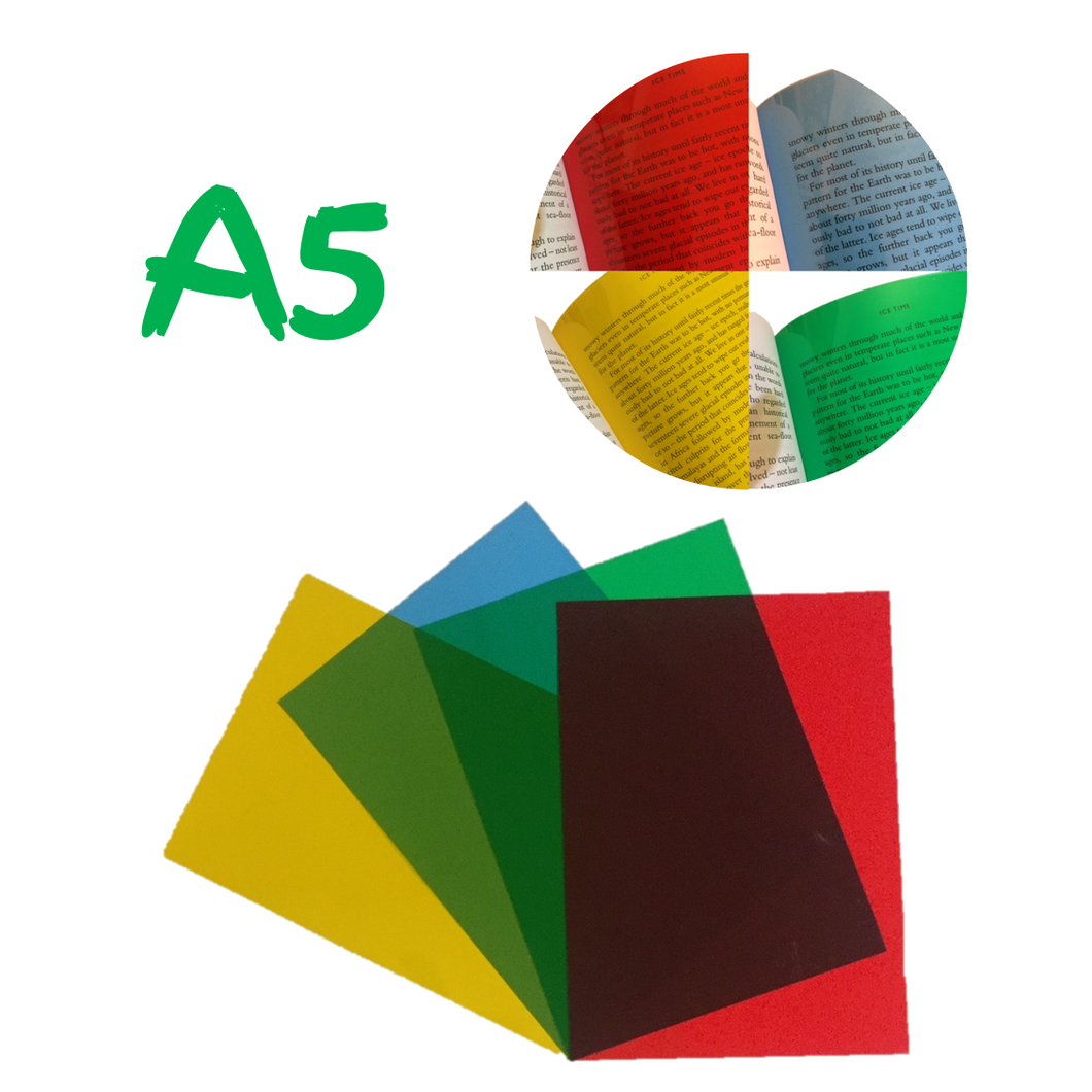 Dyslexia Overlays - A5 Assorted Pack - Blue, Yellow, Green & Red Sheet