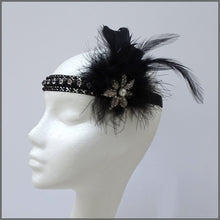 Load image into Gallery viewer, 1920s Black Gatsby Flapper Feather Headband