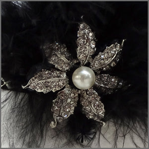 1920s Black Gatsby Flapper Diamanté Headband