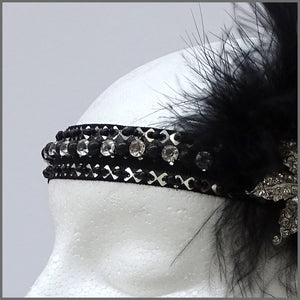 1920s Black Gatsby Flapper Feather Headband