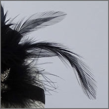 Load image into Gallery viewer, 1920s Black Gatsby Flapper Feather Headpiece
