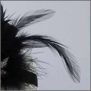 1920s Black Gatsby Flapper Feather Headpiece