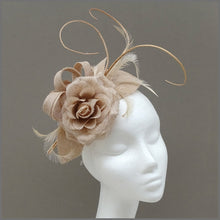 Load image into Gallery viewer, Nude/Blush Pink Flower Fascinator for Wedding Guest