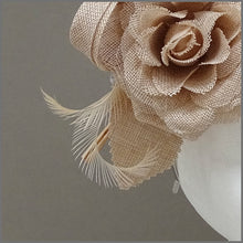 Load image into Gallery viewer, Nude/Blush Pink Linen Flower Fascinator on Headband