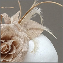 Load image into Gallery viewer, Nude/Blush Pink Flower Fascinator with Ostrich Quill