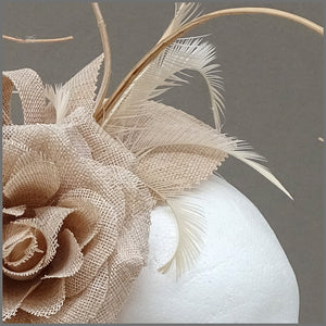 Nude/Blush Pink Flower Fascinator with Ostrich Quill