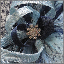 Load image into Gallery viewer,  Baby Blue & Navy Disc Fascinator for Race Day