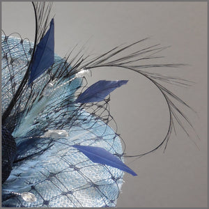 Baby Blue & Navy Disc Fascinator for Race Day