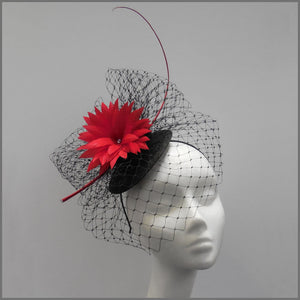 Red & Black Birdcage Veil Fascinator for Ascot