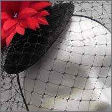 Load image into Gallery viewer, Red & Black Birdcage Veil Fascinator for Ascot
