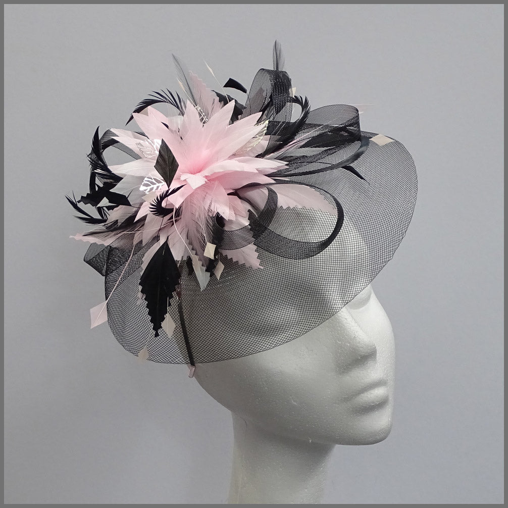 Black Crinoline Occasion Fascinator with Pink Feathers