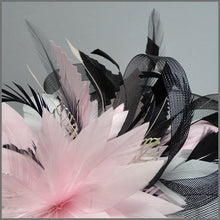 Load image into Gallery viewer, Black Crinoline Occasion Fascinator with Pink Feathers