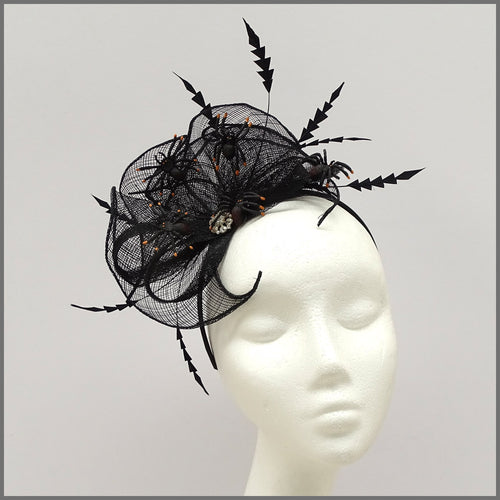 Black Halloween Party Headpiece with Spiders